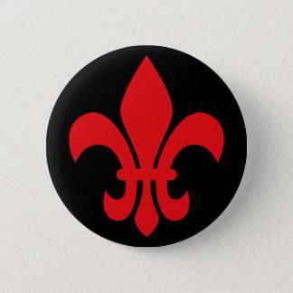 Red Fleur de Lys Pinback Button