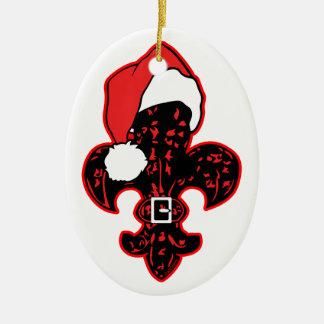 Red Fleur de Santa Christmas Tree Ornaments