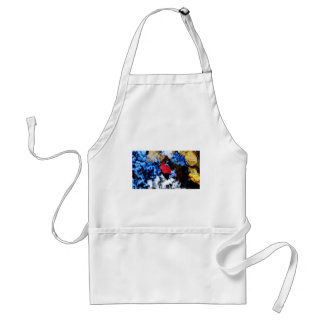 Red floating fall leaf with reflection of blue sky adult apron