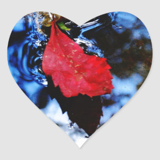 Red floating fall leaf with reflection of blue sky heart sticker