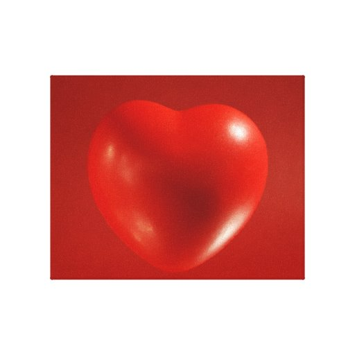 Red Floating Heart Wrapped Canvas