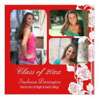 Red floral 3 photo graduation party announcement