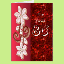 Red Floral 80th birthday card template