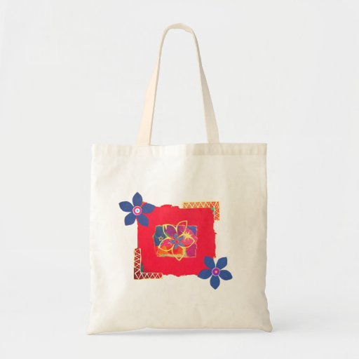 Red Floral abstract art Bag