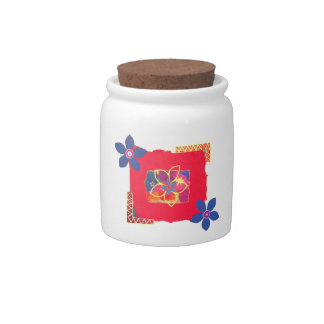 Red Floral abstract art Candy Dish