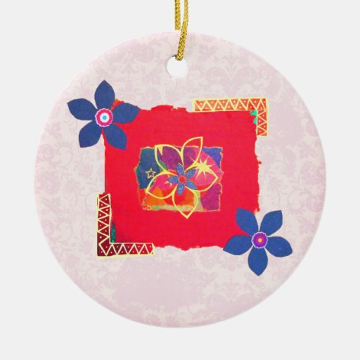 Red Floral abstract art Ornaments
