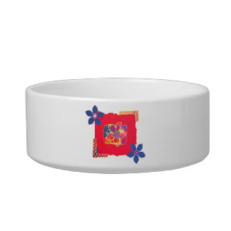 Red Floral abstract art Pet Food Bowls