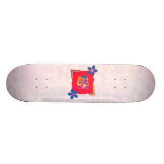 Red Floral abstract art Skateboard Deck