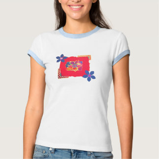 Red Floral abstract art T-shirt