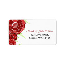 red floral address label