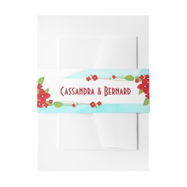 Beach Themed Red Floral and Blue Wedding | Belly Band