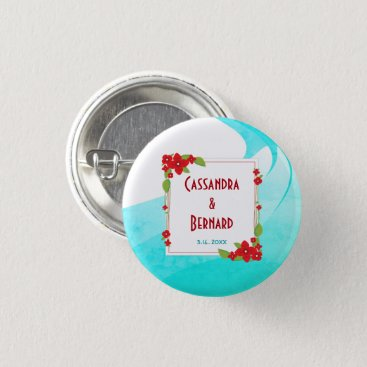 Beach Themed Red Floral and Blue Wedding | Button