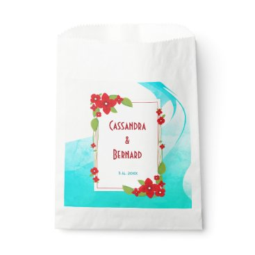Beach Themed Red Floral and Blue Wedding | Favor Bags