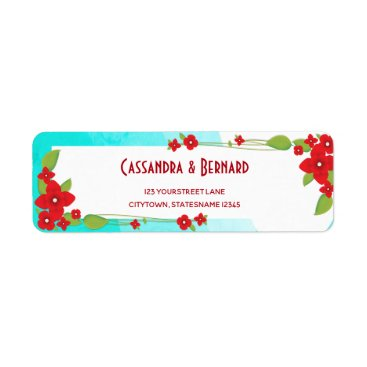 Beach Themed Red Floral and Blue Wedding | Return Address Label