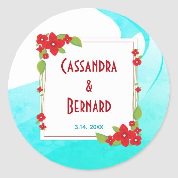 Beach Themed Red Floral and Blue Wedding | Sticker