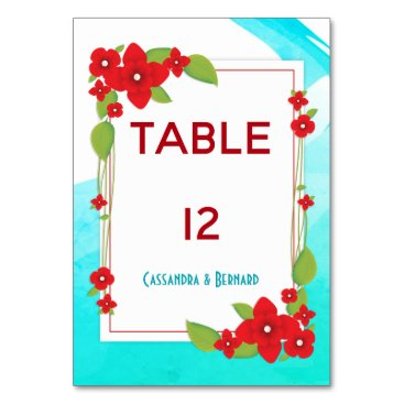 Beach Themed Red Floral and Blue Wedding | Table Card