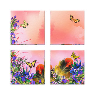 Red floral and butterflies canvas print