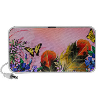 Red floral and butterflies laptop speakers
