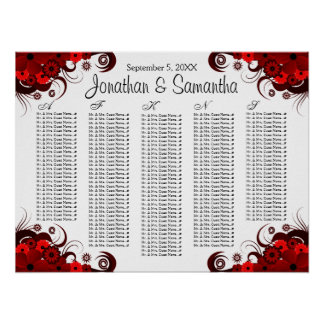 Red Floral and White Wedding Table Seating Charts