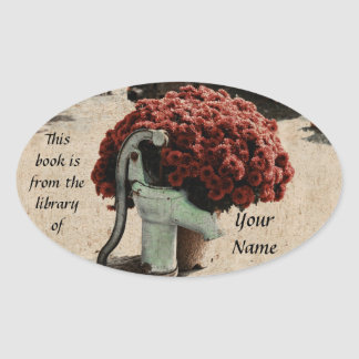 Red floral arrangement library sticker plate
