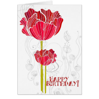Red Floral Birthday Card