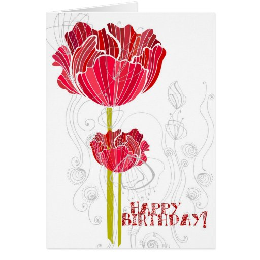 Red Floral Birthday Greeting Card
