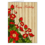 Red Floral Birthday Greeting Card With Butterflies