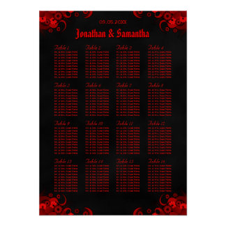 Red Floral & Black 16 Wedding Tables Seating Chart Poster
