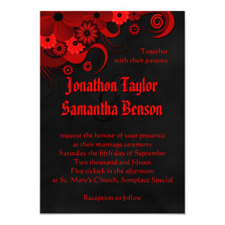 Red Floral Black Chalkboard Gothic Wedding Invites