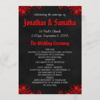 Red Floral Black Chalkboard Gothic Wedding Program