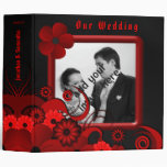 "Red Floral Black Goth 2"" Wedding Guest Book Album 3 Ring Binder"