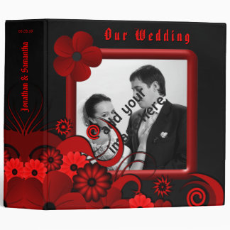 "Red Floral Black Goth 2"" Wedding Guest Book Album 3 Ring Binder"