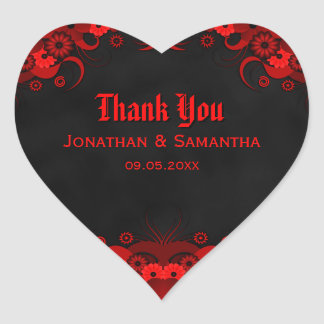 Red Floral Black Goth Heart Wedding Favor Stickers