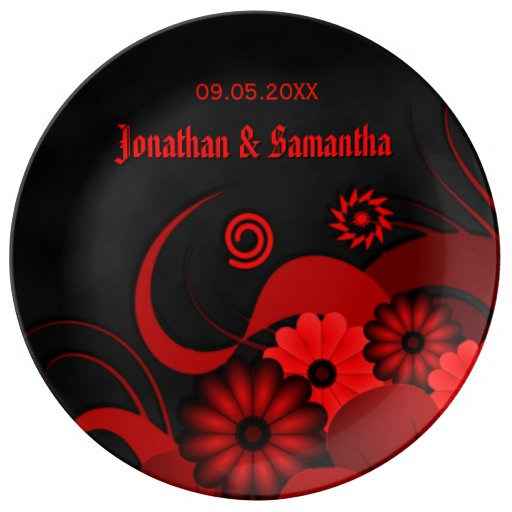 Red Floral Black Goth Wedding 10.75 Ceramic Plates