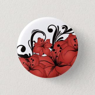 Red Floral Black Scrolls Pinback Button
