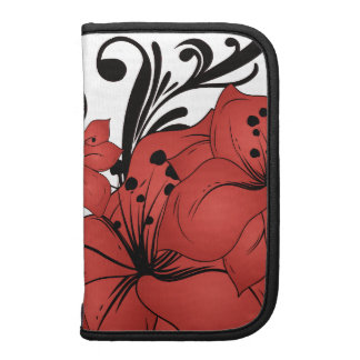 Red Floral Black Scrolls Organizers