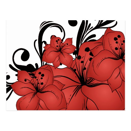 Red Floral Black Scrolls Post Card