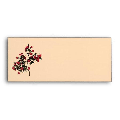 Red Floral Branch Vintage Envelope