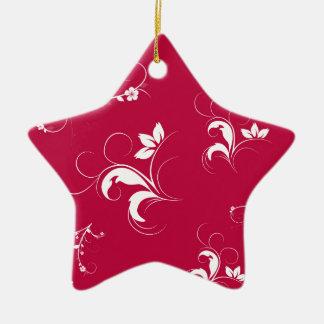 Red floral ceramic ornament