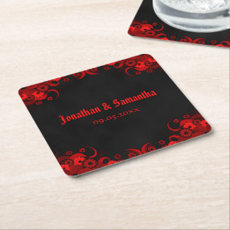 Red Floral Chalkboard Gothic Square Paper Coasters