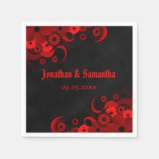 Red Floral Chalkboard Gothic Wedding Paper Napkin