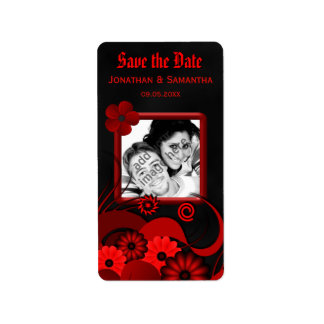 Red Floral Chalkboard Save The Date Wine Labels