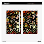 Red floral chevron skull kindle fire skin