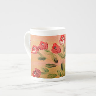 Red Floral China Cup