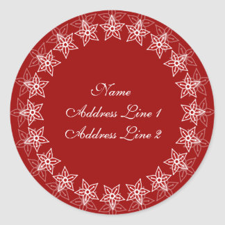Red Floral Circle Address Labels
