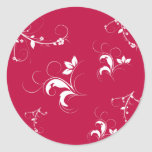 Red floral classic round sticker