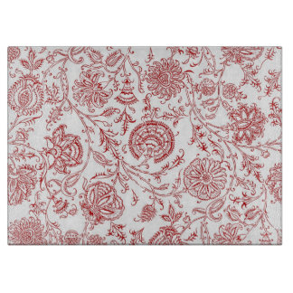 Red Floral Cutting Board