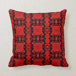 Red Floral Damask 2 Throw Pillow