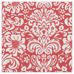 Red Floral Damask Fabric