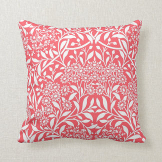 Red Floral Damask Pattern Throw Pillow